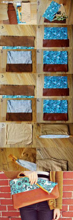 Cotton leather clutch - DIY Stuff