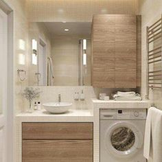 Bathroom Layout for Small Spaces . Bathroom Layout for Small Spaces . Very Neat Bathroom Layout with the Washing Machine Washing Modern Small Bathrooms, Modern Bathroom, Bathroom Small, Beautiful Bathrooms, Beige Bathroom, Wood Bathroom, Dream Bathrooms, Bathroom For Kids, Small Bathroom Designs