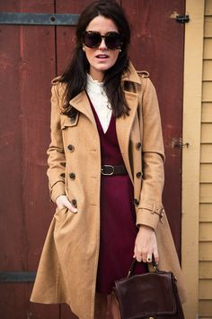 Sarah Vickers channeling Jackie Kennedy and the 60s in her tortoise shell glasses and camel coat Classy Girls Wear Pearls