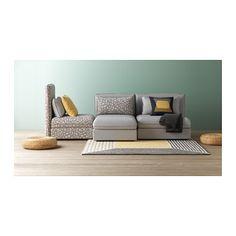 VALLENTUNA Sleeper sectional, 3-seat - Orrsta light gray/Funnarp black/beige - IKEA