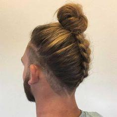 Reverse Braided Man Bun hairstyle
