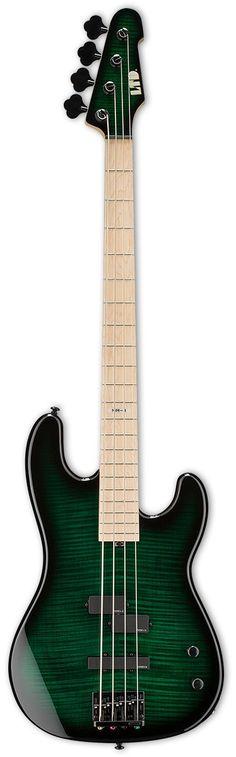 "LTD MM-4 Marco Mendoza Bass CONSTRUCTION Bolt-On SCALE 34"" BODY Alder TOP Flamed Maple NECK 5pc Maple/Walnut FINGERBOARD Maple FINGERBOARD RADIUS 400mm FINISH Dark See Thru Green Sunburst NUT WIDTH 42"