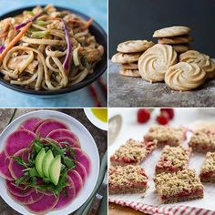 Asian Peanut Noodle Salad - The Cozy Apron. Vanilla Malted Cookies - The Little Epicurean. Carpaccio of Watermelon Radishes with Arugula and Citrus Avocado Dressing - Gourmande in the Kitchen. Strawberry Oatmeal Bars - My Baking Addiction. Strawberry Oatmeal Bars, Watermelon Radish, Peanut Noodles, Avocado Dressing, Noodle Salad, Delish, Food Porn, Asian, Cooking