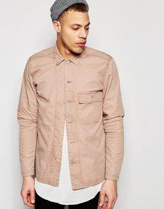 Image 1 ofASOS Military Herringbone Shirt In Shacket Styling In Dusty Pink