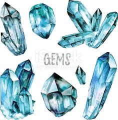 Illustration of Watercolor Gems collection. illustration isolated on white background vector art, clipart and stock vectors. Crystal Illustration, Watercolor Illustration, Watercolor Paintings, Gem Drawing, Drawing Ideas, Cristal Art, Crystal Drawing, Crystal Tattoo, Wow Art