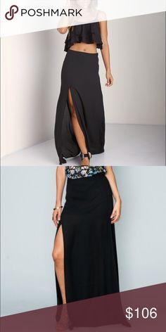 "Show Me Your Mumu Maxi Skirt Mick Slit skirt in black crisp. Has black short skirt liner . Material is not see through. Waist 28"". Has been professionally altered to 41"" length. No size on tag but think this is a medium. Show Me Your MuMu Skirts Maxi"