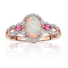 Angara Cabochon Opal Solitaire Ring With Petal Motifs uqaKPnnW89