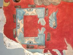 Wall painting from Teotihuacan Ancient Aztecs, Ancient Art, Tempera, Fresco, Aztec Mask, Mesoamerican, Colorful Wall Art, Mural Painting, Indian Art