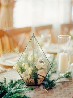 Geometric glass wedding centerpiece