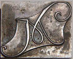 Foundry Script Letter M Letterpress Printers Type Block I929. $8.00, via Etsy.