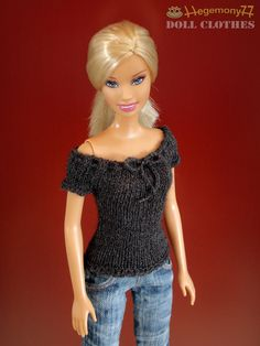 Hand knitted top for Barbie Pullip Momoko 27 cm Obitsu doll size fashion dolls tiny BJD. $29.00, via Etsy.