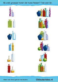 Thema kunst, bij welk groepje horen de twee flessen, kleuteridee.nl , Art theme preschool.