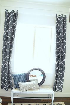 The Large Scallops Wall Stencil on fabric curtains by our Jen from tatertots & jello! Gorgeous!