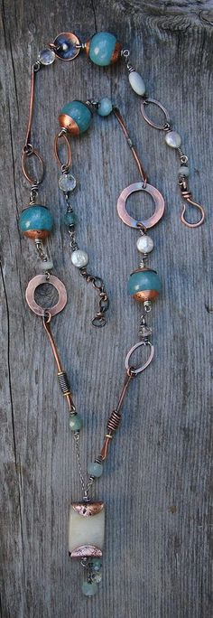 New necklace by Cynthia Murray Design with honey jade pendant, blue agate, aquamarine, pearls, recycled copper, sterling silver chain - jewelry, men\'s, statement, leather, ring, unusual jewellery *ad