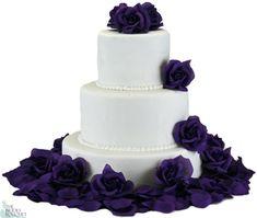 Purple Silk Rose Cake Flowers - Reception Decoration - TheBridesBouquet.com
