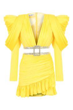 Farnaz Salmani Yellow Mini Dress Available in www.farnazsalmani.com #fashionart #women'swear Fashion Art, Fashion Show, Bell Sleeves, Bell Sleeve Top, Pink Mini Dresses, Yellow, How To Wear, Inspiration, Tops