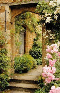 tuinposter-doorkijkje Rozen middeleeuws kasteel