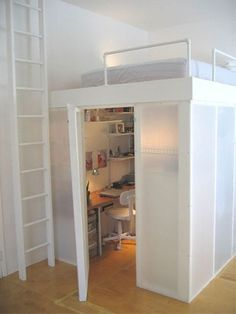 office / loft bed. - Click image to find more Home Decor Pinterest pins