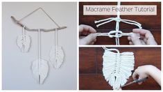 How To Make A Macrame Feather Wall Hanging - Tutorial For Beginners: In this tutorial, I show you how to create Macrame Feathers and assemble them into a wal. How To Make A Macrame Feather Wall Hanging - Tutorial For Beginners Uses the square knot and lar Mason Jar Crafts, Mason Jar Diy, Macrame Projects, Diy Projects, Craft Tutorials, Yarn Crafts, Diy And Crafts, Diy Y Manualidades, Wie Macht Man