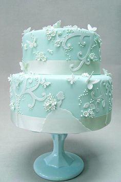 Beautiful Tiffany Blue Wedding Cake   ᘡղbᘠ