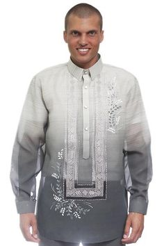 Fabric: Jusi (Silk) with monochromatic style and pina effect. With its many intricate details, this barong isa stand-out look to any formal occasion. Pair this with the barong undershirt: Camisa de Chino (Short-Sleeve or Long-Sleeve ). Pink Groomsmen, Barong Tagalog, Men Style Tips, Chino Shorts, Bomber Jacket, Mens Fashion, Gray, Formal, Long Sleeve