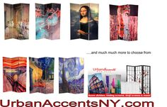 Van Gogh, Degas, the Mona Lisa and more impressionist paintings on a room divider folding screen