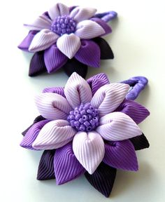 Kanzashi fabric flowers. Set of 2 hair snap clips. Plum, purple and orchid