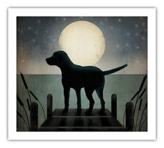 Moonrise Dock Dog Graphic Art Illustration Giclee by nativevermont  Looks like my Gibbers!