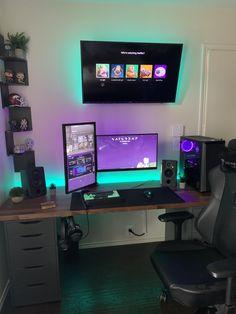 Upgraded a few things. Gaming Desk Setup, Computer Gaming Room, Computer Setup, Bedroom Workspace, Bedroom Setup, Bedroom Decor, Tv Wall Design, Game Room Design, Farmhouse Games