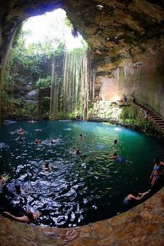 Chichen itza, México. Underground Cenote /water cave. Hundreds of feet deep, beautiful blue fresh water in an underground cave. The public can swim here. In yucatan Mexico. I've been here! It's amazing.