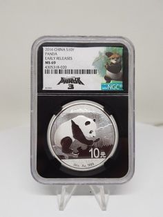 2016 China 10Y 30g Silver Panda NGC MS69 Early Releases Black Core Kung Fu Panda