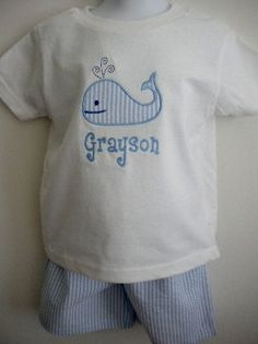 Boys Shorts Set with applique whale and name by seashorekids, $28.00