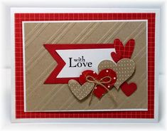 Punched out hearts with a variety of patterned paper; colors are Riding Hood Red, kraft and white.