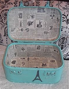 Suitcase Upcycle I love the look of the old newspaper inside. Maybe I can find some scrapbook paper that looks like this?I love the look of the old newspaper inside. Maybe I can find some scrapbook paper that looks like this? Painted Suitcase, Suitcase Decor, Suitcase Storage, Suitcase Packing, Decoupage Suitcase, Cute Suitcases, Vintage Suitcases, Vintage Luggage, Upcycled Vintage