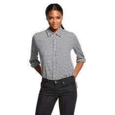 5ec47f31373 Women s Plaid Blouse Black White Plaid - Leyden Fancy Clothes