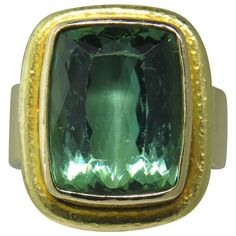 Elizabeth Locke Gold Green Tourmaline Ring | From a unique collection of vintage more rings at http://www.1stdibs.com/jewelry/rings/more-rings/