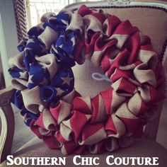 GOD BLESS THE USA! Burlap Red White and Blue Wreath. CLICK for Etsy Store.