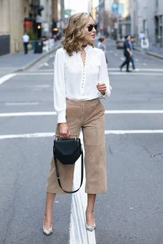 spring work outfit, fall work outfit, business casual, office outfit, spring fashion, fall fashion, spring outfit, fall outfit, street style, street chic style - white blouse, camel suede culottes, camel suede wide leg crop pants, snake print heels, black shoulder bag, aviator sunglasses