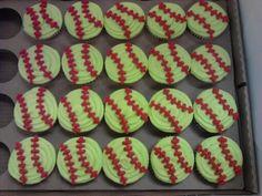 Softball cupcakes