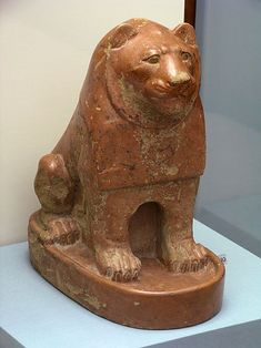 Ancient Egyptian pottery lion, Protodynastic period.  It is during this time that the Egyptian language was first recorded in hieroglyphs.