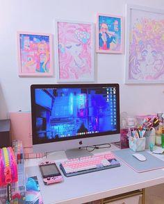 Cute Room Ideas, Cute Room Decor, Pastel Room, Pink Room, My New Room, My Room, Home Music, Kawaii Bedroom, Gaming Room Setup