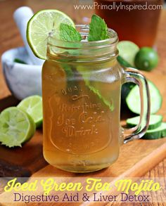 This is so refreshing plus it helps clear toxins out of your body! Iced Green Tea Mojito from Primally Inspired