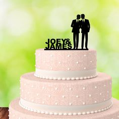 Gay Cake Topper  His and His  Gay Wedding Cake by EpicWoodDesigns