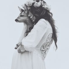 a girl and a deer