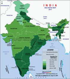 Find Female Sex Ratio in different parts of India in Census Map showing the Female Sex Ratio in India as per Census Total Female Sex Ratio in India is 940 females per 1000 males. General Knowledge Book, Gernal Knowledge, Geography Map, World Geography, India World Map, Asia Map, India Facts, States Of India, History Of India