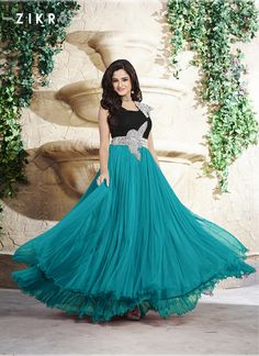 Black and Turquoise Pure Satin and Net Hand Work Designer #Gown  #colourfullgowns #weddinggowns #eveninggowns #eveningdresses  Grab fast @ http://fashionfiza.com/gown