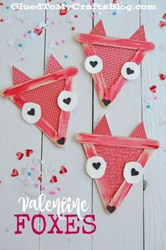 Popsicle Stick Valentine Foxes - Kid Craft