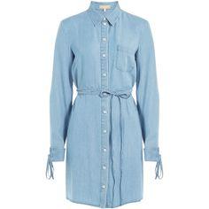 Michael Kors Denim Shirtdress ($520) ❤ liked on Polyvore featuring dresses, blue, blue collared dress, denim shirt dress, blue dress, sky blue dress and collar dress