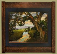 Oak On The Creek by Jan Schmuckal Oil ~ 24 (painting size) x 30 (painting size) Craftsman Interior, Artist And Craftsman, Craftsman Style, Craftsman Paintings, Craftsman Artwork, Craftsman Wallpaper, Craftsman Houses, Impressionist Artists, Art And Craft Design