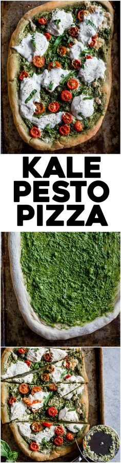 Kale Pesto Pizza | Homemade pizza topped with a simple yet flavorful kale pesto and burrata cheese | http://thealmondeater.com